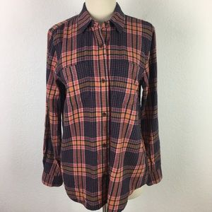 Madewell Navy & Coral Plaid Flannel Top Medium